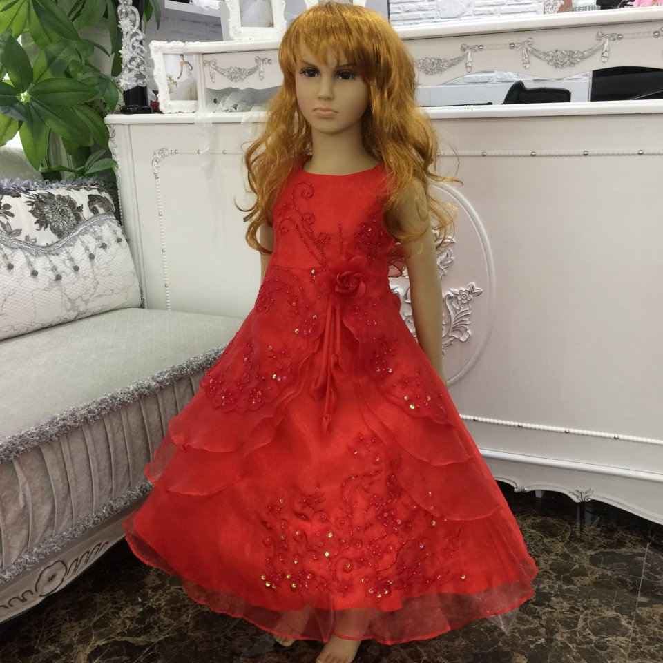 Wholesale 2016 New Ankle Length Kids Pageant Dresses For Teenage Girls Red Flower Girl Dresses For weddings Kids Evening Gowns(China (Mainland))