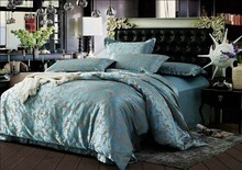 Royal light blue 4pcs silk satin jacquard home bed comforters/bedclothes/quilt cover set Queen/King size/B2314 fast shipping(China (Mainland))
