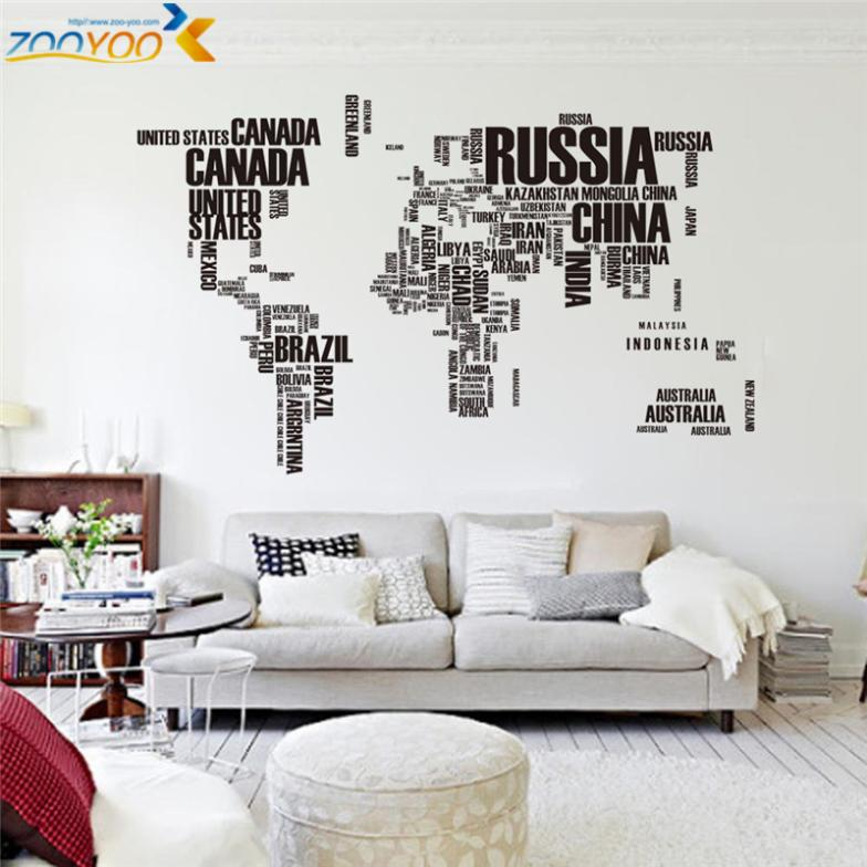 Creative letters world map wall stikers home decorations for Living room 6 letters