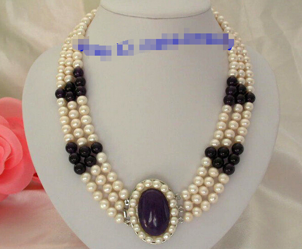 Free shipping Hot sale >>>classic 3rows 8mm round white freshwater pearls purple crystal necklace(China (Mainland))