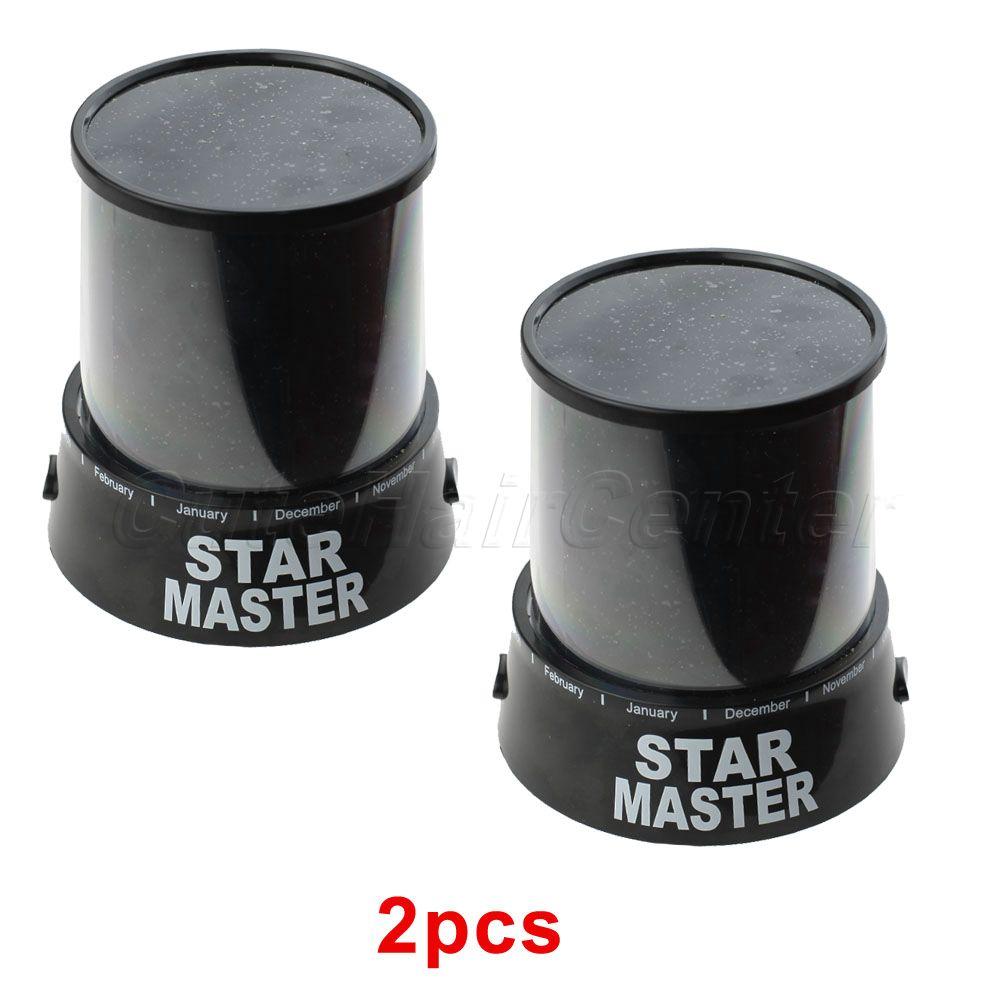 Best Selling 2pcs/lot Colorful Romatic Dreamlike Gift LED Auto Flash Star Master Light Nightlight Projector Lamp(China (Mainland))