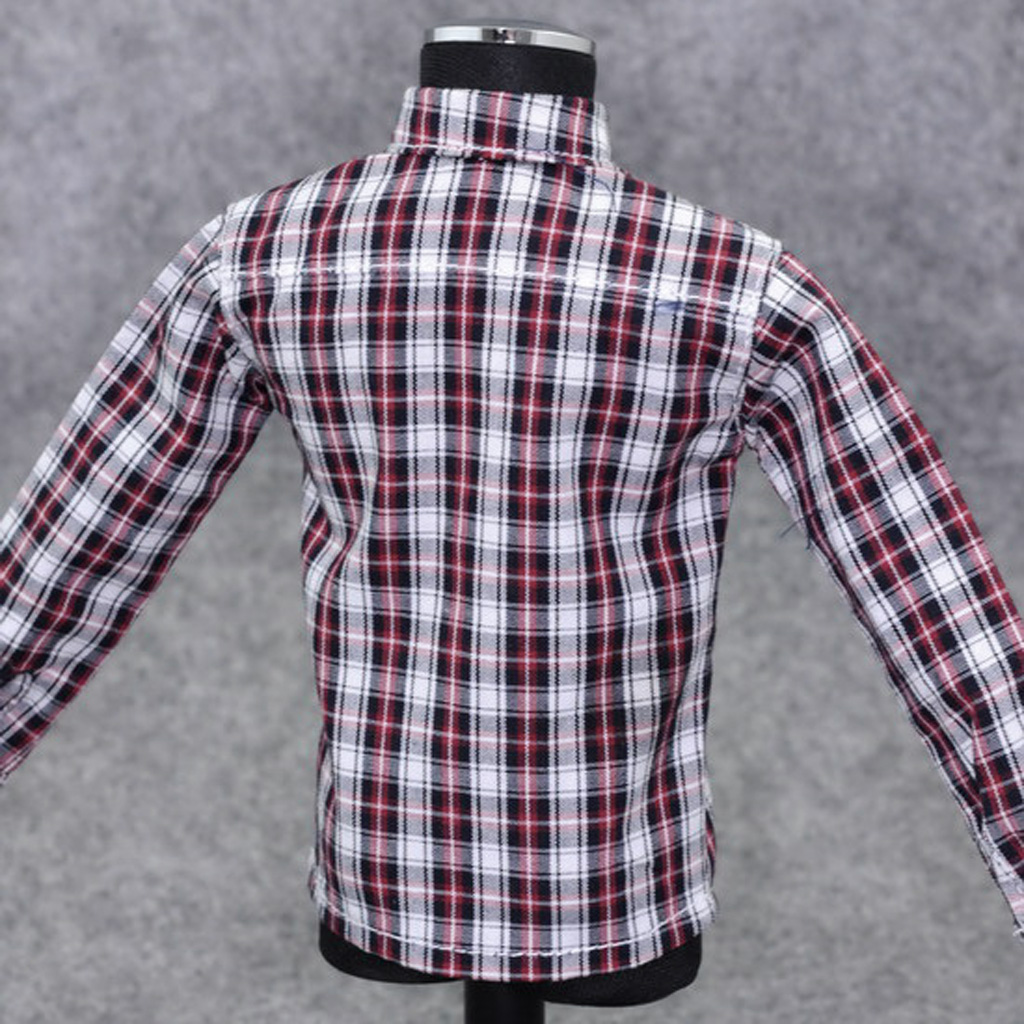 1/6 Scale Male Clothes for 12 inch Action Figure Red Plaid Long Sleeve Shirt Jeans Suit Dolls Casually Cool Outfits Clothing Set