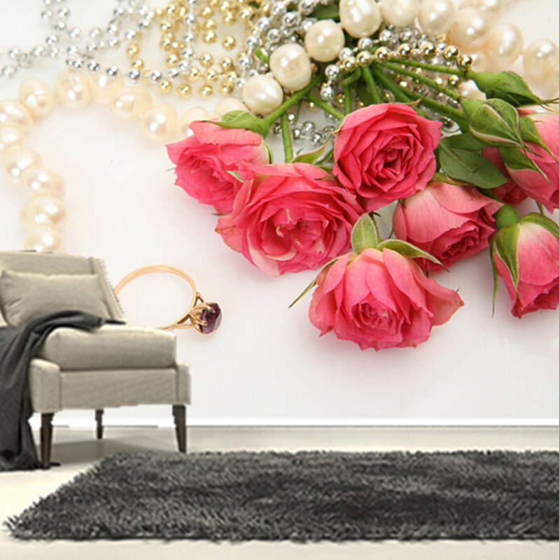 The custom 3d murals romantic roses jewelry pink color for Red flower wallpaper living room