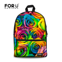 Designer Floral Printed Canvas Kids Backpack 3D Rose Teenager Girls School Bag Unique Women Flower Rucksack Free Shipping(China (Mainland))