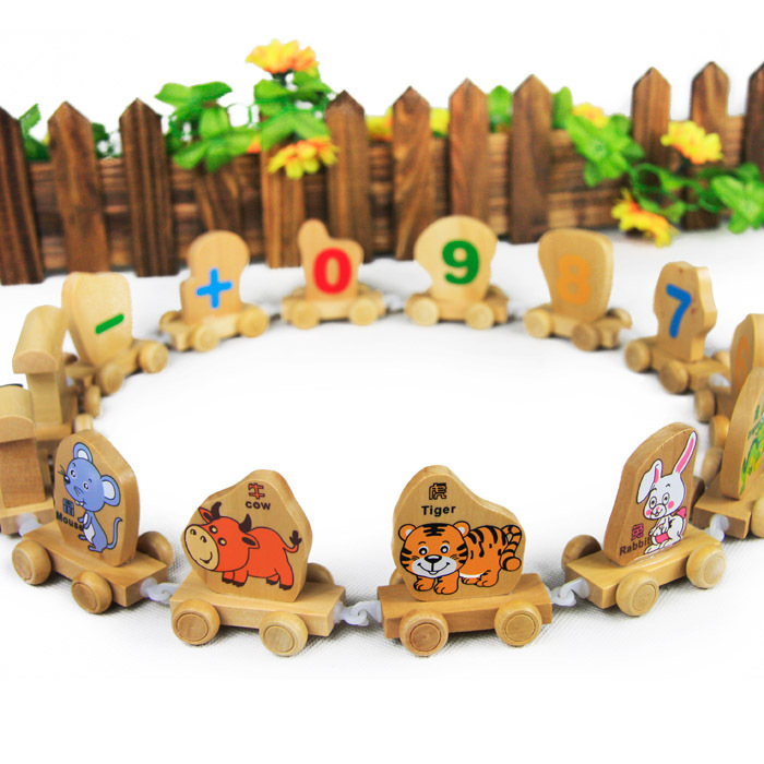 Hot sale new Children favorite educational Toy gift wooden wool puzzle toy zodiac trainmen free shipping(China (Mainland))
