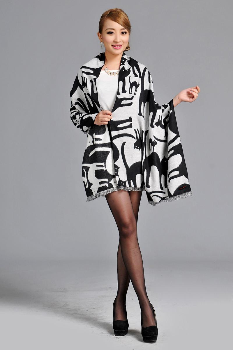 2016 designer Pashmina high quality woven long scarf for elegant lady lovely animal cats shawl(China (Mainland))