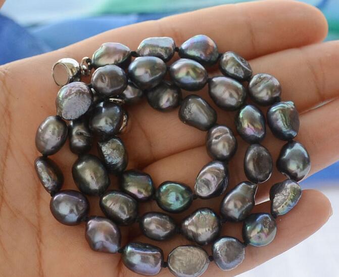 song voge gem nanJ1316 black baroque freshwater pearl necklace(China (Mainland))