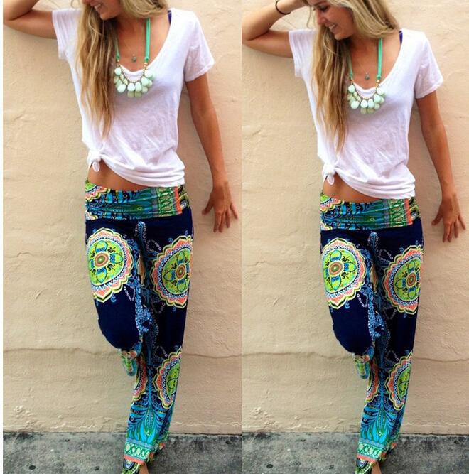 Новые летние женские брюки свободного покроя высокая талия вспышки широкий палаццо нога длинные брюки