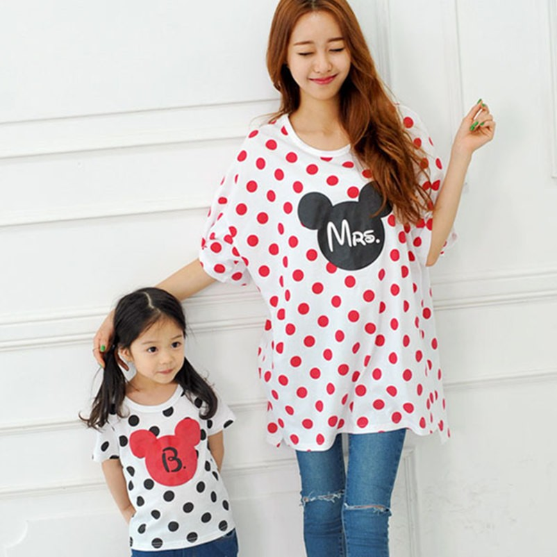New Lovely Summer Style Girl Kids Children White T-shirts Polka Dot Clothes Family Matching Outfits mother&kids clothing Blouses