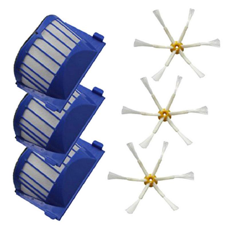 Hepa Filter + side Brush kit for iRobot Roomba 600 Series 610 620 625 630 650 660 Vacuum Cleaners Parts(China (Mainland))