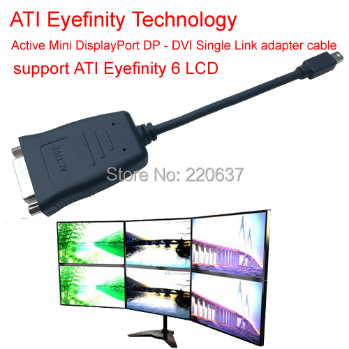 Active ATI Eyefinity Mini DisplayPort DVI adapter cable DP Single Link support 6 LCD - MooKoo Electronic Technology Co., Ltd. store