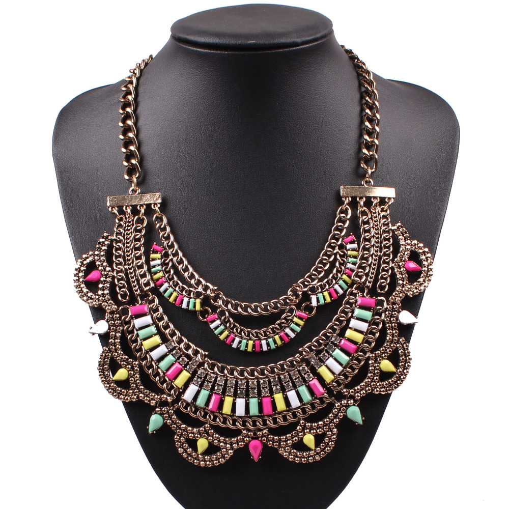 2016 new arrival design fashion chunky chain necklaces cheap colorful acrylic crystal statement women necklace jewelry wholesale(China (Mainland))