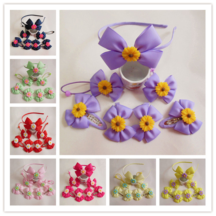 girls boutique bow hair bows accessories Children Bow Hair Headdress Daisy Suit(China (Mainland))