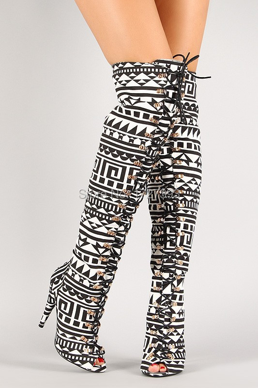 Black And White Thigh High Boots - Boot Hto
