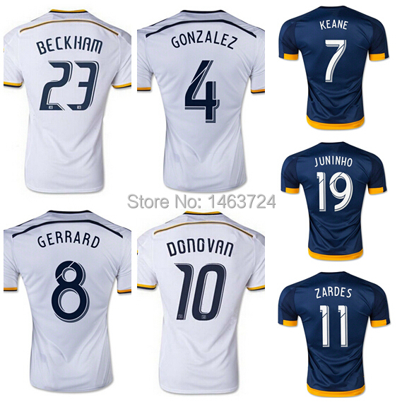 15/16 Los Angeles LA Galaxy Soccer Jersey 8 Steven Gerrard David Beckham Football Shirt Landon Donovan Gonzalez Keane Juninho(China (Mainland))