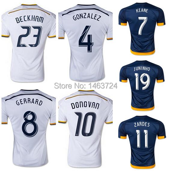 15/16 Los Angeles LA Galaxy Soccer Jersey 8 Steven Gerrard David Beckham Football Shirt Landon Donovan Gonzalez Keane Juninho(China (Mainland))