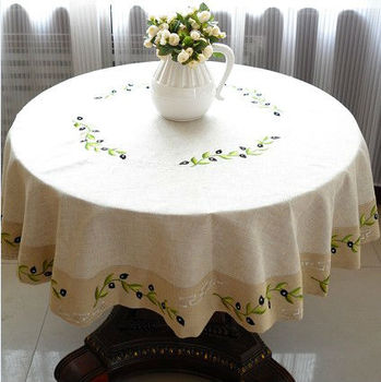 Olive Branch Emboidered Linen Tablelinen /Tablecloths,  150cm ROUND