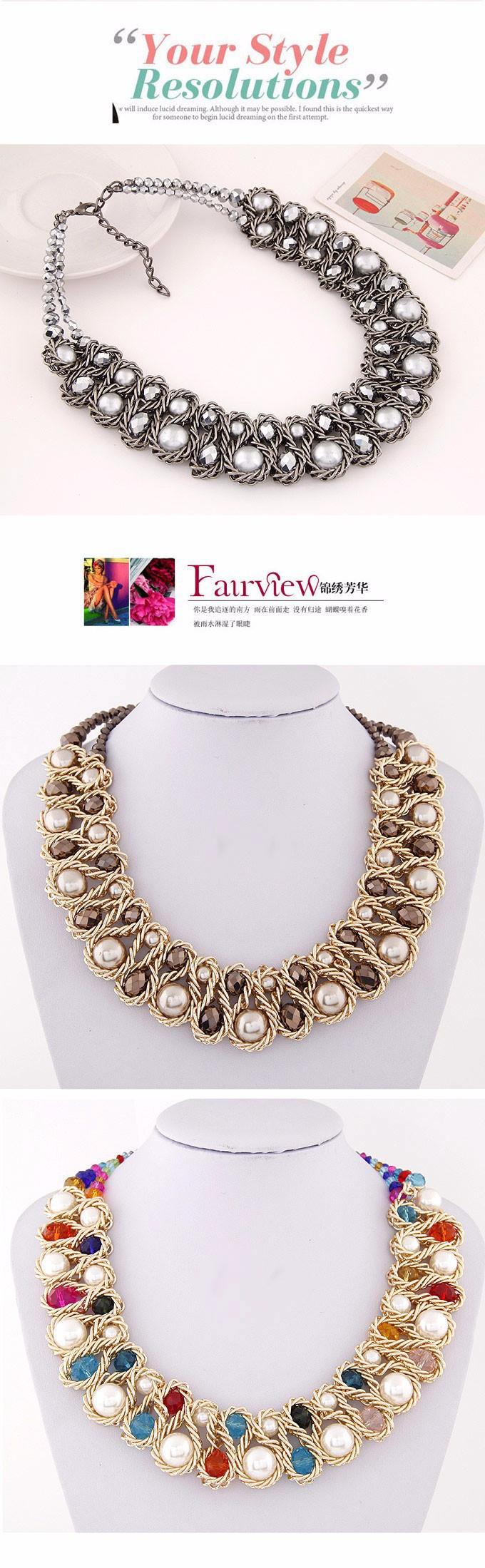 HTB1zt7sIpXXXXbZXXXXq6xXFXXXr - Statement necklace Fashion for Women 2017 Chunky Bead Gold Chain Double Crystal Big Pearl Choker Necklaces & Pendants Jewelry