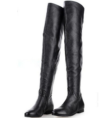 knee high leather flat boots | Gommap Blog