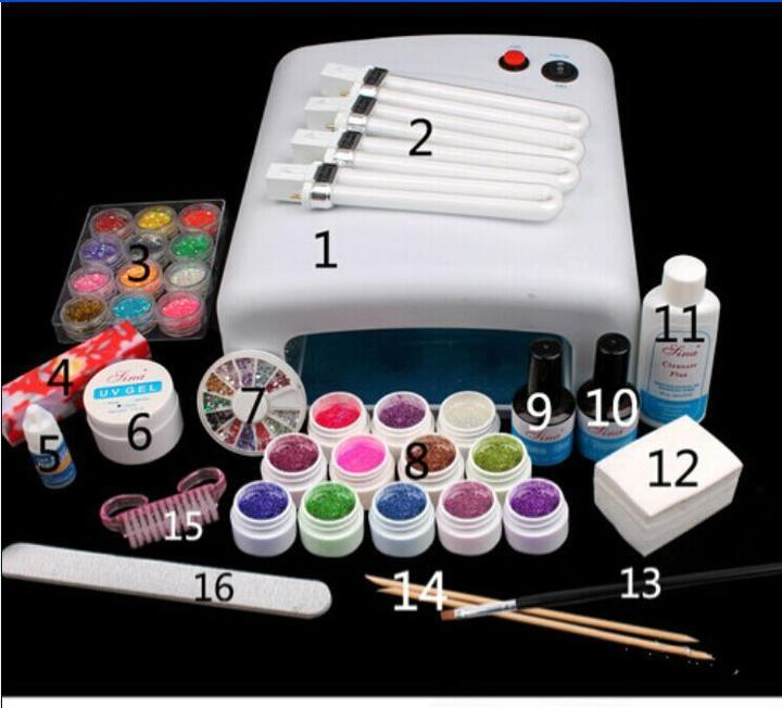 EM-123 free shipping Pro Full 36W White Cure Lamp Dryer & 12 Color UV Gel Nail Art Tools Sets Kits(China (Mainland))