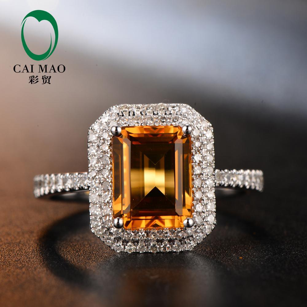 Бесплатная доставка изумрудный Cut 2.45ct цитрин 18 К золота с бриллиантами обручальное кольцо