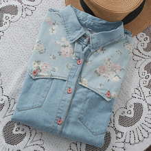 New Arrival Summer Casual Shirt Jeans Turn Down Collar Jeans Shirt Women Patchwork Pocket Women Blouses 2015 Floral Blouse(China (Mainland))