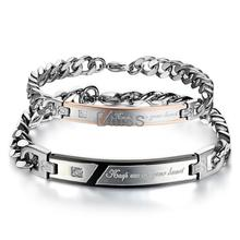 """1 Piece New Korean Romantic """"Keep me in your heart"""" Couple Bracelets Crystal Stainless Steel Promiss Bracelets For Men Women(China (Mainland))"""