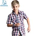 Hot New Fashion summer boy short sleeve plaid shirt 100 cotton child shirt Kids children s