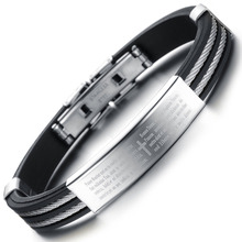 Holy Bible Cross Design Silicone Man Bangles Classical Black/Gold Stainless Steel Men Jewelry Bracelets