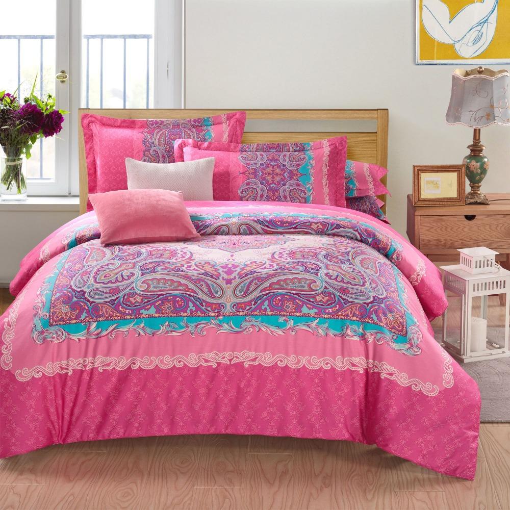 wholesale modern paisley pink queen king size bedding sets duvet cover sets bed in a bag. Black Bedroom Furniture Sets. Home Design Ideas