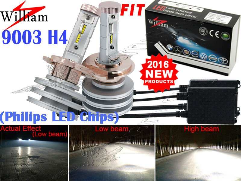 2x H4 LED Headlight Lamps Hi/Lo New Philips Chips Xenon White High Power 100W For Civic 3 dr.1996-2003(China (Mainland))
