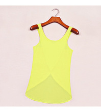 2015 Design Women Summer Sleeveless Sexy Black Casual Tank Top Chiffon Blouse Ladies Solid 5 Color Backless Shirt Female Y9666(China (Mainland))