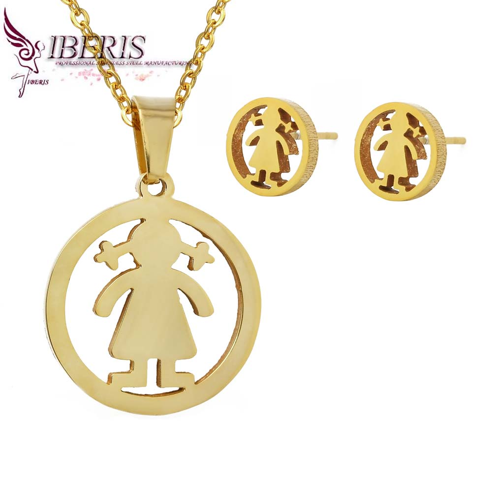 2016 Fashion Women Jewelry Cute little girl 18k gold earrings and necklace sets Personality simple stainless steel jewelry sets(China (Mainland))