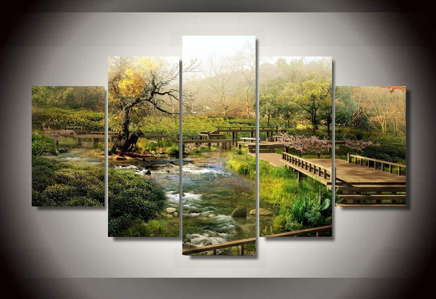 Living room wall decor Natural scenery 5 piece picture Painting wall art room decor print poster picture canvas wall with framed(China (Mainland))