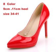 New 2015 Women s Black High Heels Low Heel 9cm Red Black Nude Platform Pointed Toe