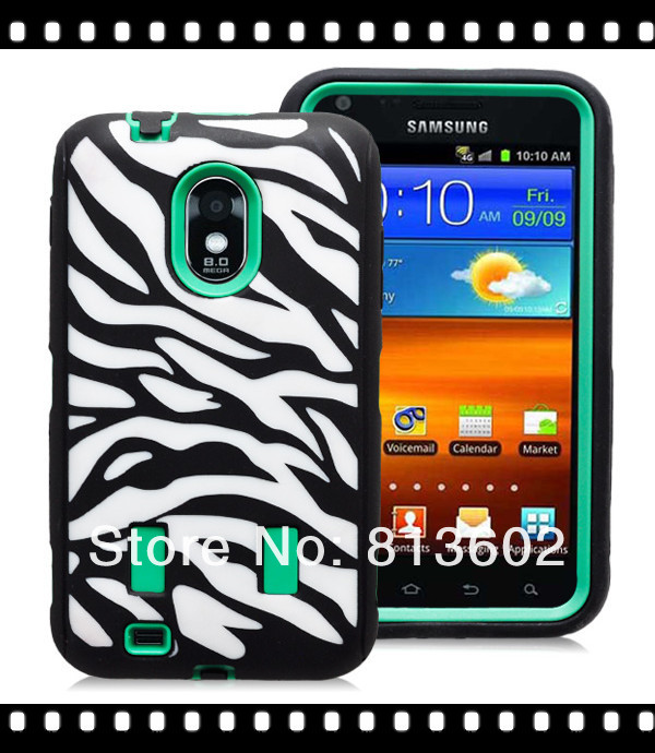 3 IN 1 Shock Proof Protective Defender Case for Samsung Galaxy S II 2 Epic Touch 4G D710 PC +Silicon Zebra Style Cover Skin(China (Mainland))