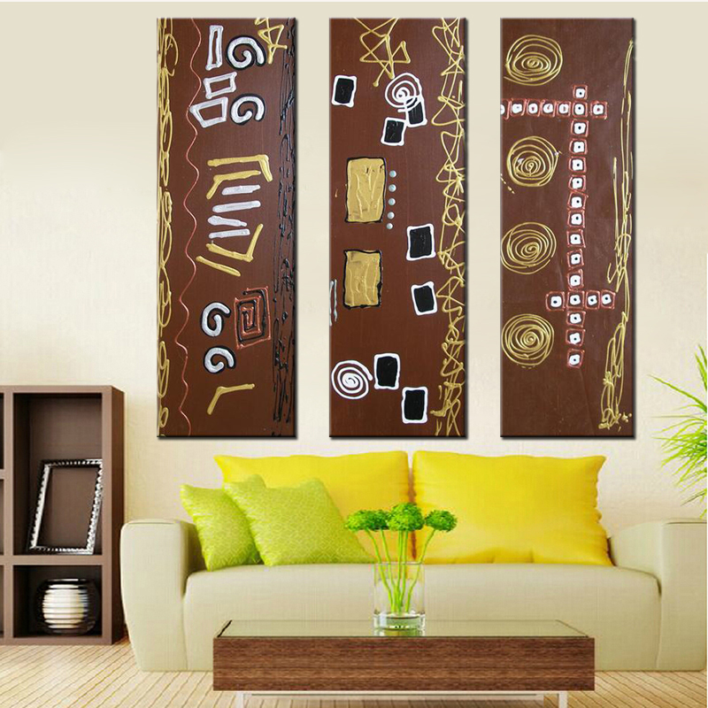 Hand Painted Islamic Calligraphy Paintings Canvas Art for Home Decor Modern Abstract Islamic Pictures 3 Panel Canvas Paintings(China (Mainland))