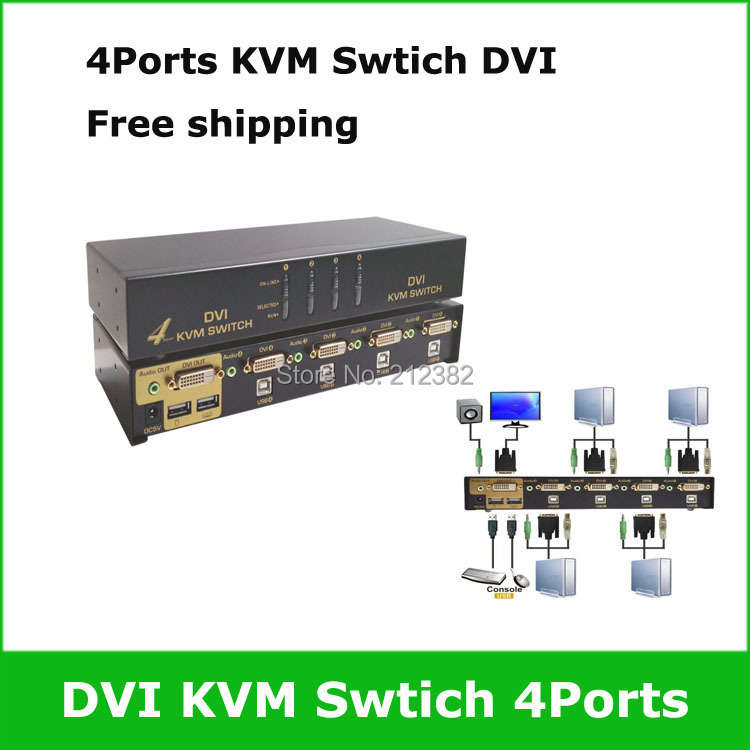 4 Ports USB DVI KVM Switch KVM DVI Switcher 4ports Free shipping(China (Mainland))