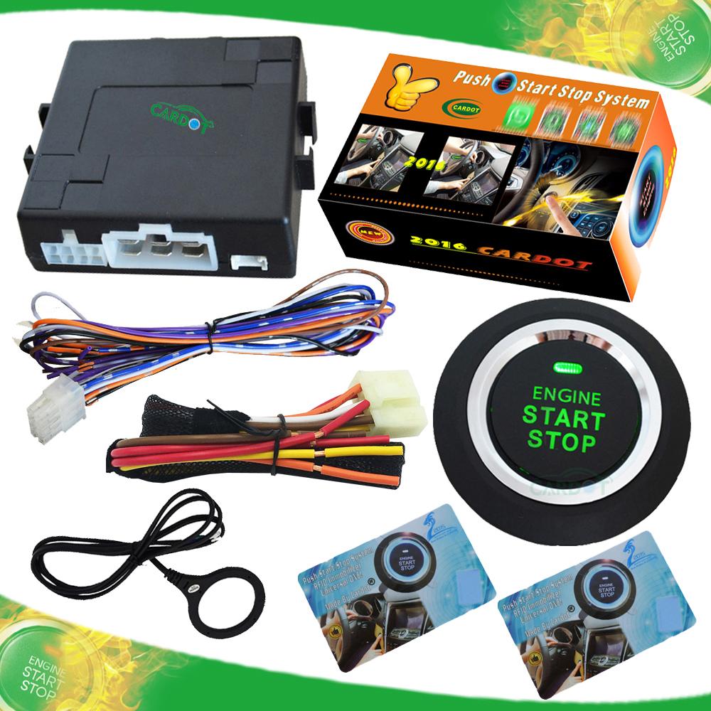 invisible car alarm push start stop engine remote start stop engine 2pcs transponder card passive keyless entry engine(China (Mainland))