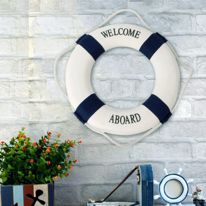 Fashion Mediterranean Family Adorment Life Buoy Crafts Living Room Decoration