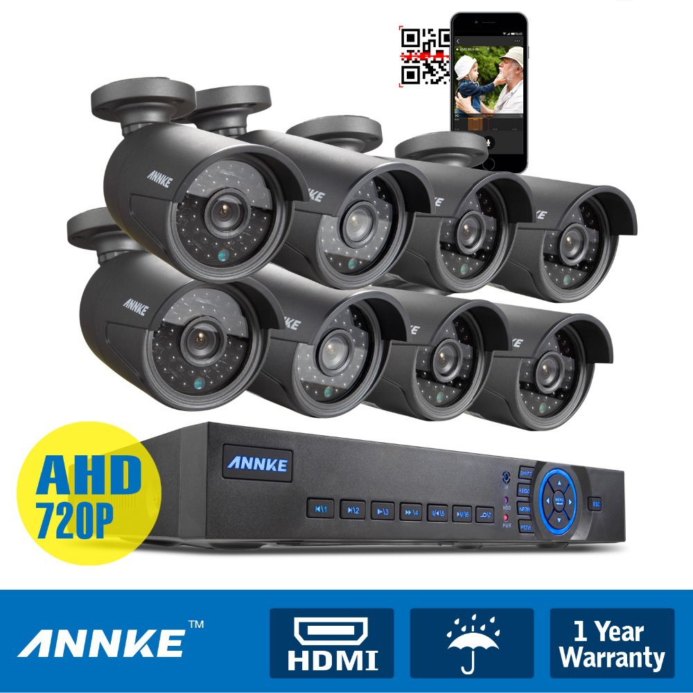 ANNKE 8CH HDMI DVR 720P HD Video Night Vision IR CUT Security indoor and outdoor cctv 8 Cameras System Kits Use wireless android(China (Mainland))