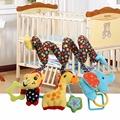 25cm 1 Set Cute Cartoon Infant Baby Rattle Toy Music Plush Monkey Elephant Giraffe Crib Bed
