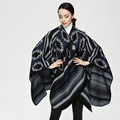 2017 New Winter Scarf Women Cashmere Feel Poncho Cape Warm Scarves India Ethnic Style Big Shawl