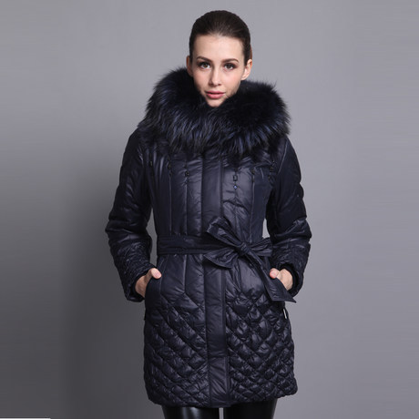 2014 new womens winter luxury raccoon fur collar Slim plaid Outerwear and long thick cold down jacket Одежда и ак�е��уары<br><br><br>Aliexpress