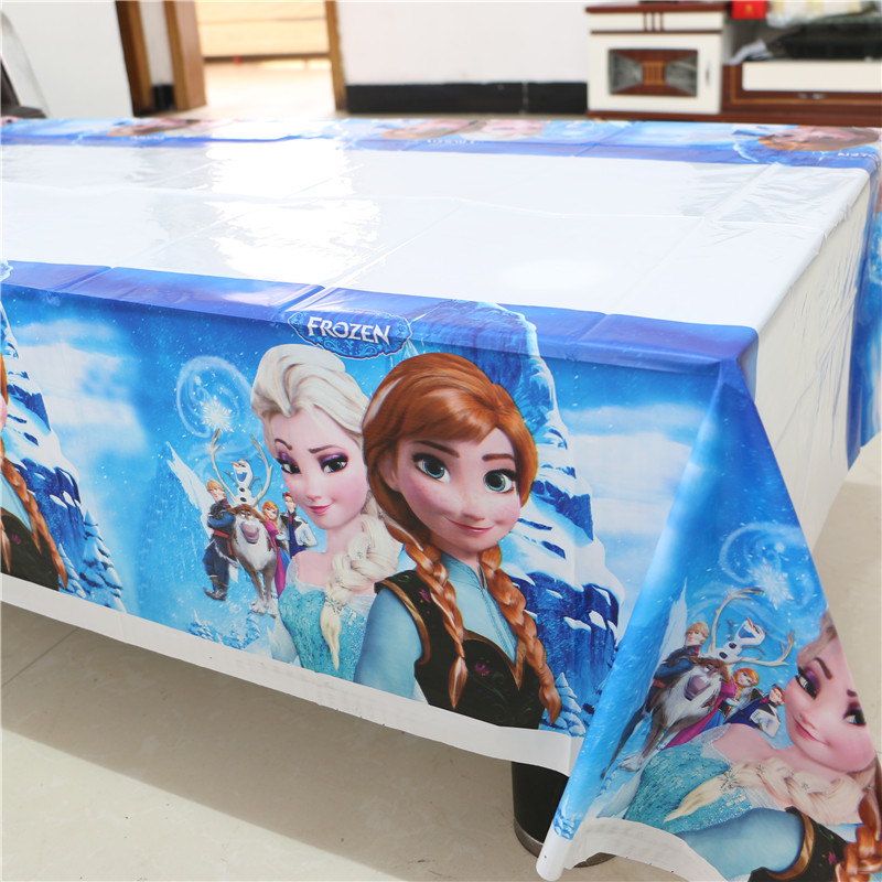 180*108cm Plastic Table Cloth cartoon elsa Table Cover Waterproof Disposable Tablecloth kids girl Birthday Party Wedding Home(China (Mainland))