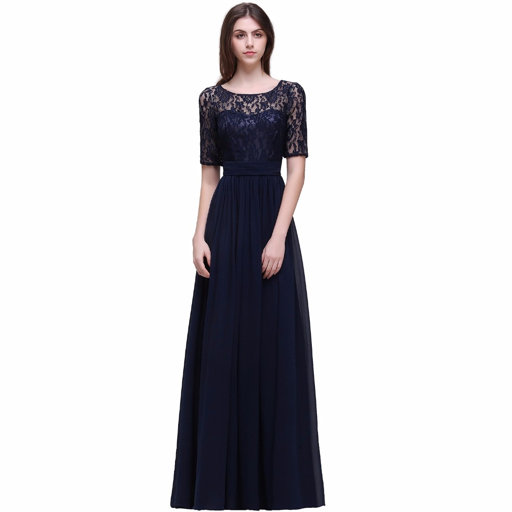 Online get cheap navy blue dresses bridesmaid dress aliexpress robe de soiree longue elegant navy blue lace bridesmaid dresses 2017 a line bow chiffon ombrellifo Choice Image