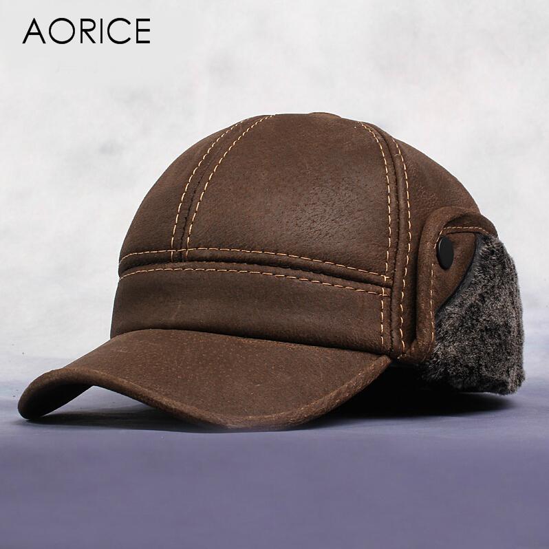 HL083 New Men's Scrub Genuine Leather baseball cap Russian Winter Warm baseball Hat / Cap with Faux fur inside(China (Mainland))