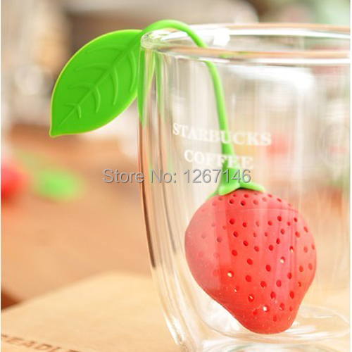 5pcs Free Shipping Teacup Teapot Tea Infuser Bag Filter Strainer Strawberry Pear Design Silicone ahYG(China (Mainland))