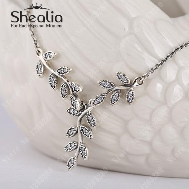 Весна листья ожерелье подвески с прозрачный CZ микро-проложить листья кулон 925 чистое серебро Shealia модное ювелирные изделия
