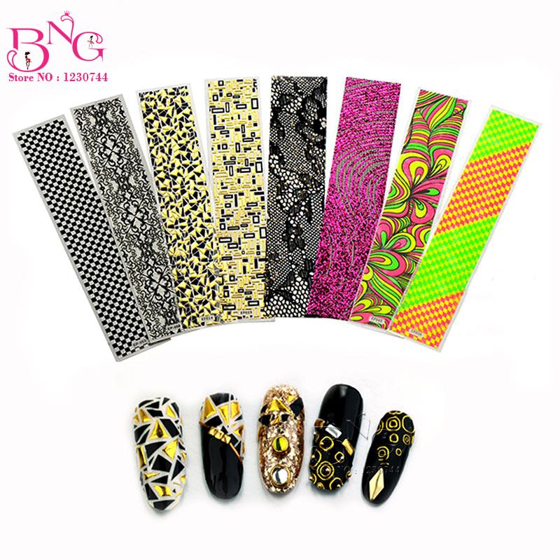 Beauty Nail Art 10 unique designs /lot adesivos personal & salon minx nail art decals Fingernail tattoo Stickers on nail(China (Mainland))
